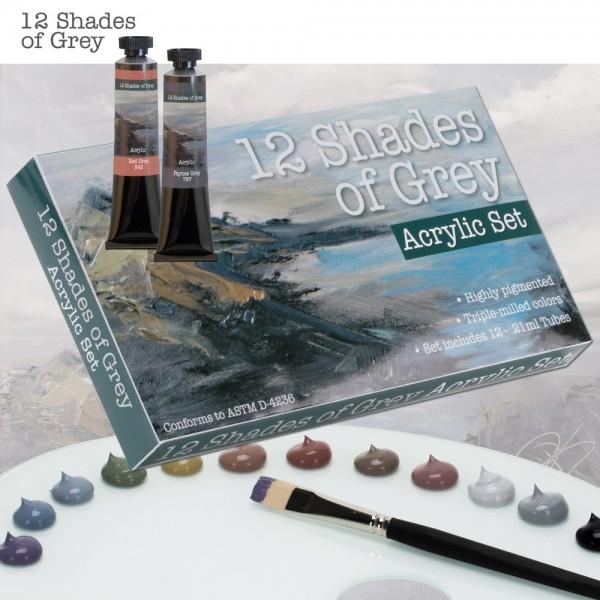 12 shades of grey acrylic paints