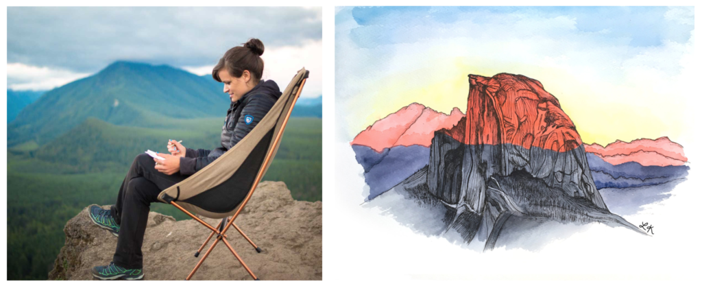 Drawing in Washington and half dome painting