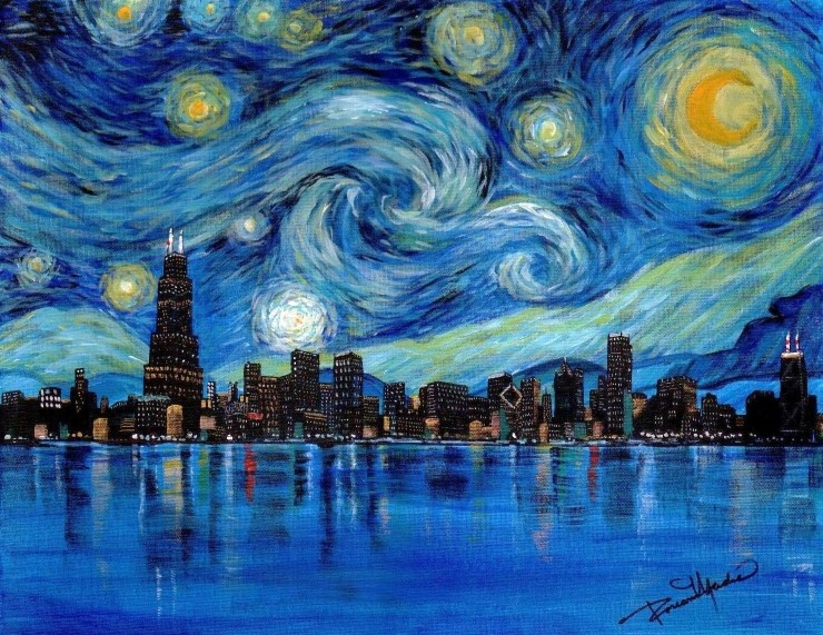 starry chicago small paintnig using lukas berlin oil paints