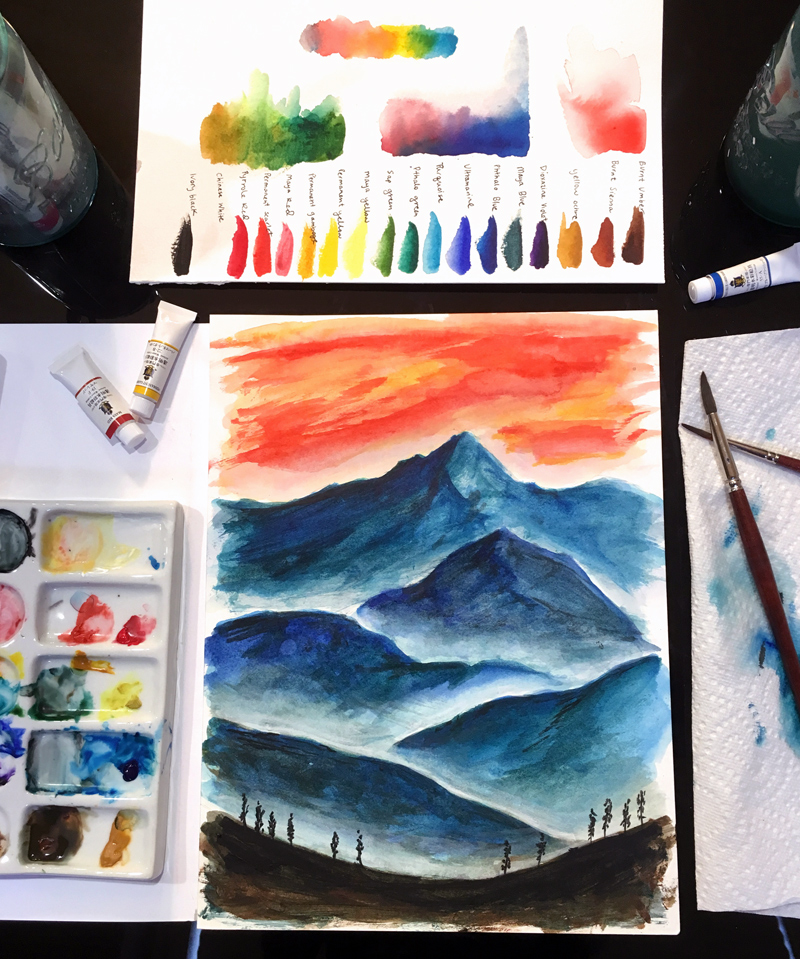 Finished Watercolor Mountain Painting using Turner Waterocolors