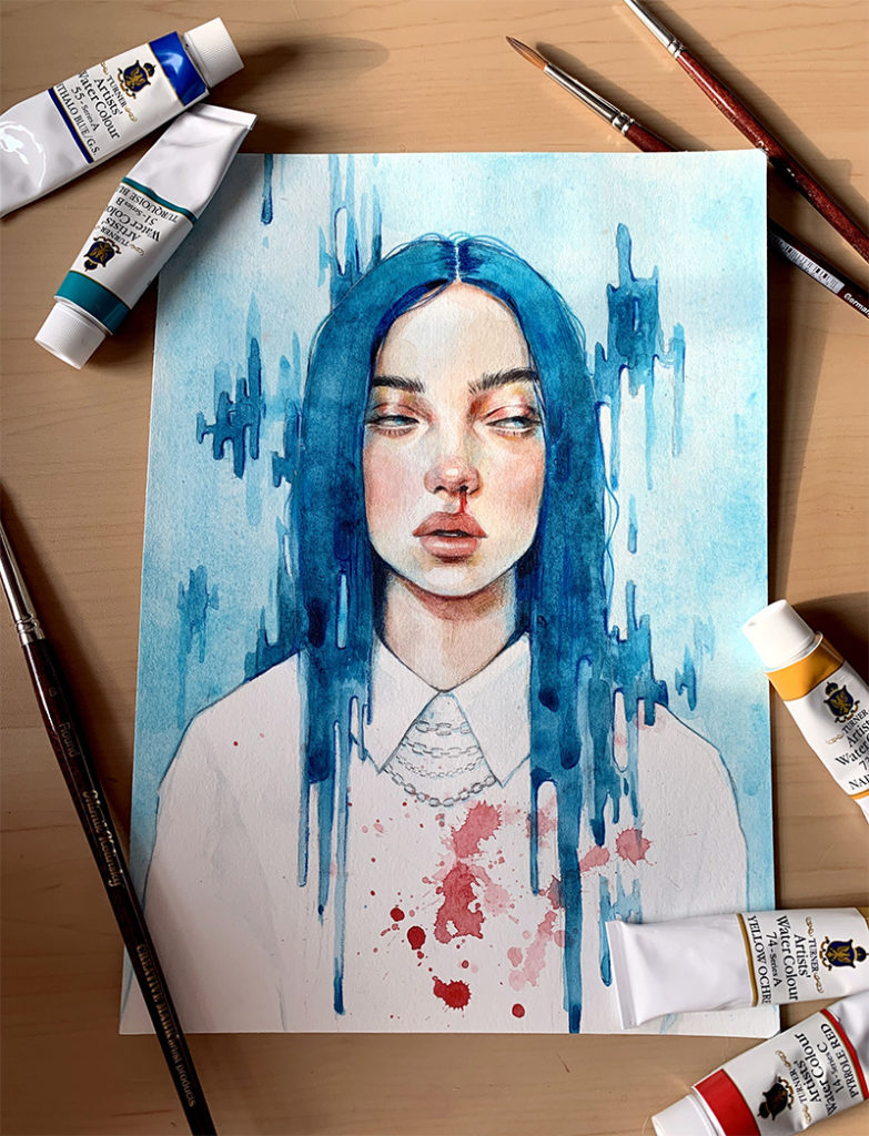 0073.UV billie eilish painted with turner watercolors