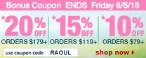 Save up to 20% Off Orders Over $179 + Free Shipping | Use Code raoul