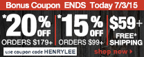 Save up to 20% Off Orders Over $179 + Free Shipping | Use Code henrylee