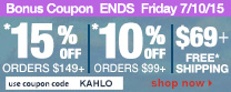 Save up to 15% Off Orders Over $149 + Free Shipping | Use Code kahlo