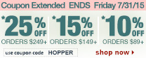 Save up to 25% Off Orders Over $249 + Free Shipping | Use Code hopper