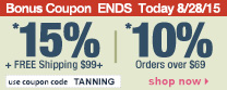 Save up to 15% Off Orders Over $99 + Free Shipping | Use Code tanning
