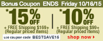 Save up to 15% Off Orders Over $169 + Free Shipping | Use Code bestsave15