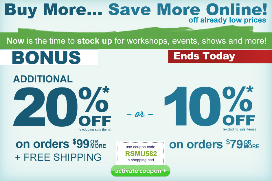 Save an additional 10% off orders $79+ or 20% off orders $99+ and Free Shipping.