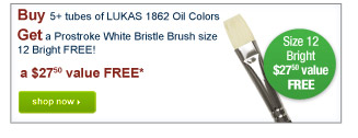 Buy 5+ tubes of LUKAS 1862 Oil ColorsGet a Prostroke White Bristle Brush size 12 Bright FREE! - Shop Now