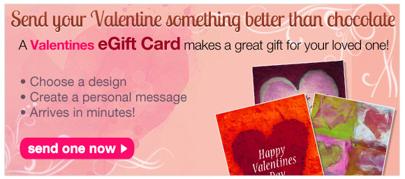 eGift cards are the perfect gift for artists for any occassion. Send a Valentine's Day electronic art gift card today!