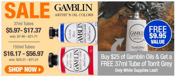 Gamblin Artist's Oil Colors - Free tube of Torrit Grey
