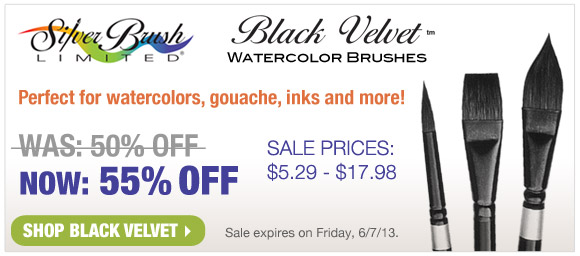 Save 55% Off list prices on Silver Brush Black Velvet Watercolor Brushes!