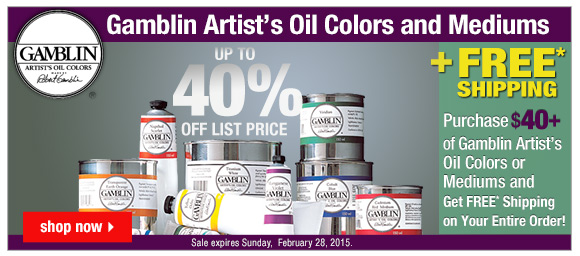 Up to 40% Off Gamblin Artist Oil Colors Plus FREE Shipping with $40 purchase!