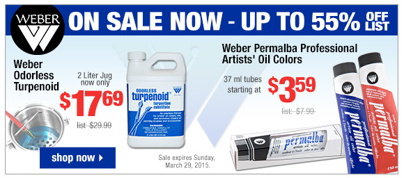 Weber Odorless Turpenoid and Permalba Professional Oil Colors On Sale Now | start shopping
