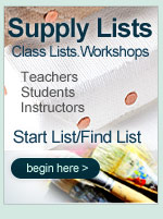Art Class Supply Lists for Back to School. Students and teachers create and find your art supplies for art classes and workshops at the lowest prices online