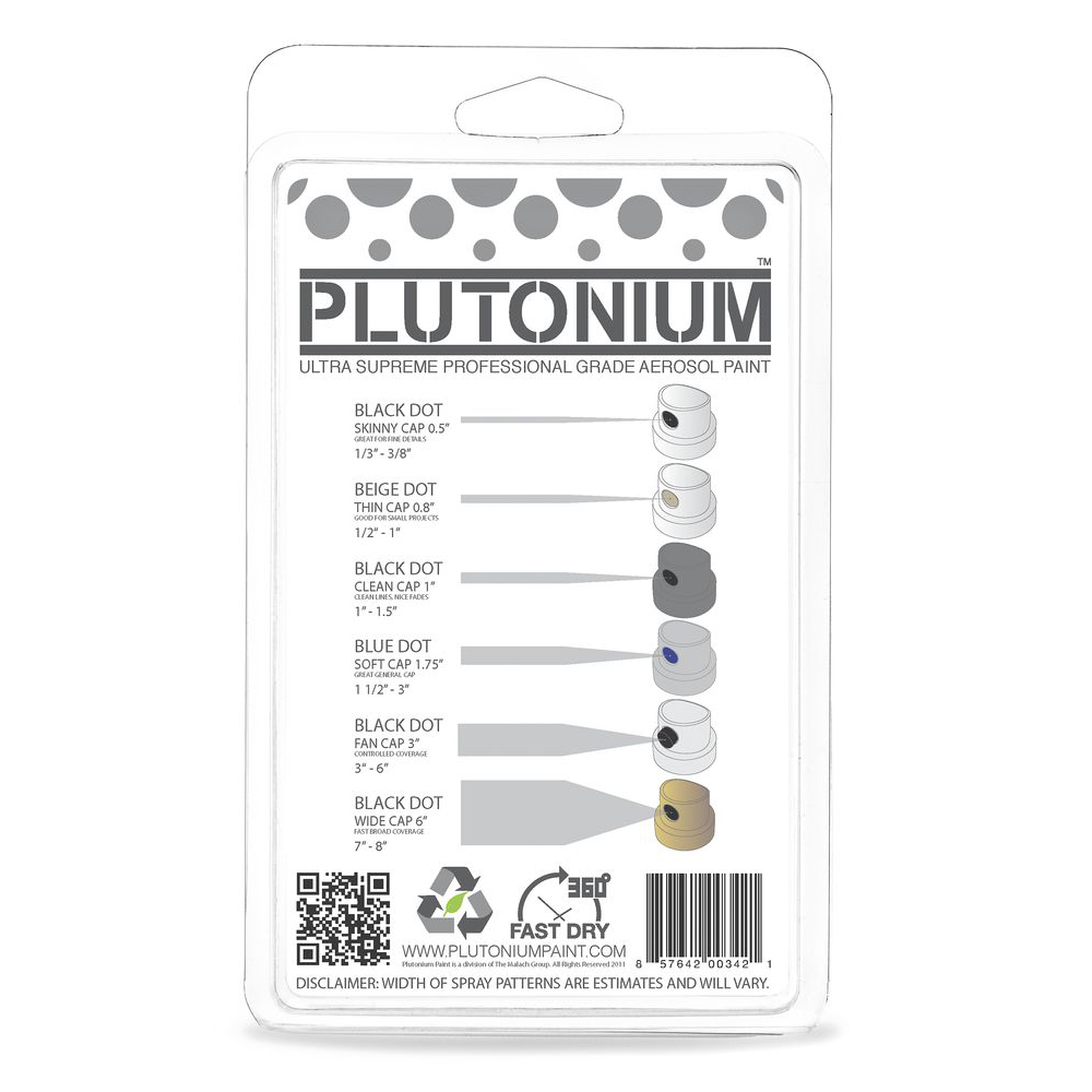Plutonium Replacement and interchangeable widths Spray Caps