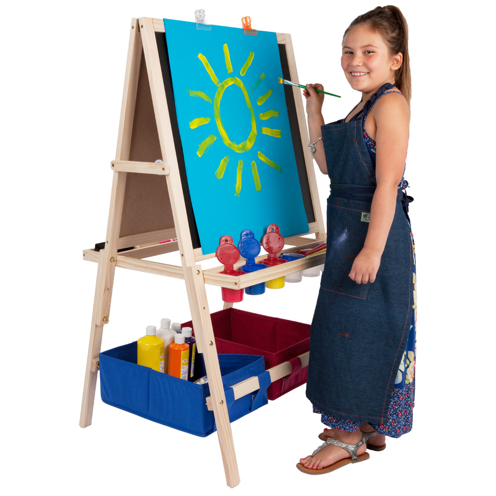 Kids Art Easel Wooden Easel With Storage Bins