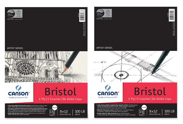 Canson Bristol 2 Ply Drawing Paper Pads