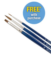 FREE* Red Sable Brush Set. Purchase $49 of Maimeri Blu Open stock watercolors and receive a Red Sable Brush Set of 3 (a $45.00 Value) FREE*