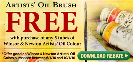 Free Artists' Oil Brush Free with purchase of any 5 tubes of Winsor & Newton Artists' Oil Colors. Only while supplies last! Offer good only on Winsor & Newton Artists' Oil Colors purchased between 6/1/10 and 10/1/10. Download rebate!