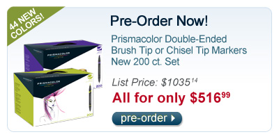 Pre-Order your 200 ct. Prismacolor Double-Ended Brush Tip or Chisel Tip Markers