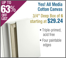 "Yes! All Media Cotton Canvas - 3/4 "" Boxes of Six"