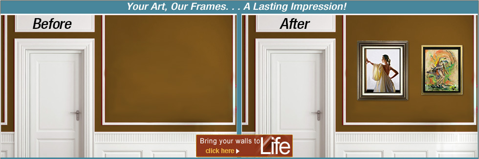 Bring your walls to life with stylish Cusotm or Ready Made Frames!