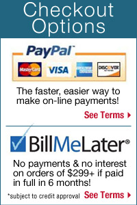 We make it easy for you to check out! Use PayPal or Bill Me Later!