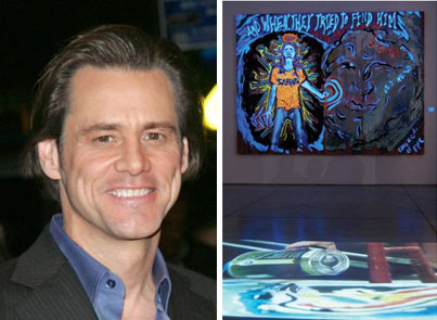 Comedian Jim Carrey expresses himself through painting as well as acting.