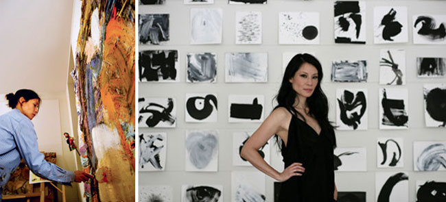 Actress Lucy Liu is also an accomplished painter and holds her own art shows in galleries.