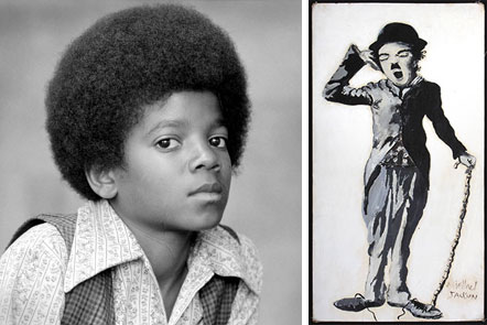 The King of Pop, Michael Jackson, displayed incredible talent with this painting of Charlie Chaplin, done when Michael was only 9 years old.