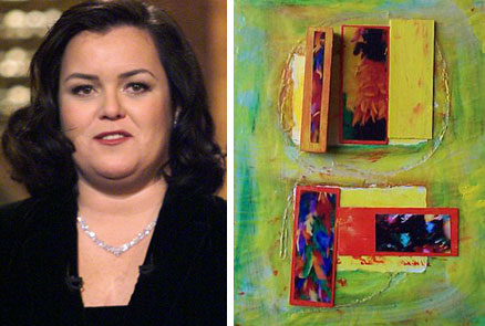 Comedienne and TV show hostess Rosie O'Donnell creates complex mixed media paintings.