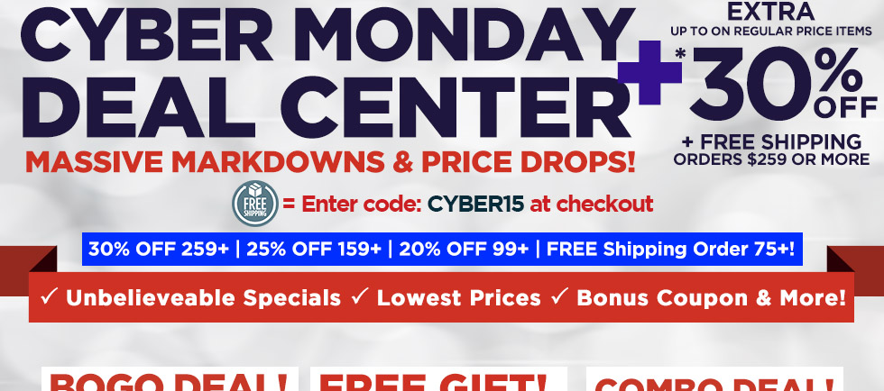 Cyber Monday Deal Center, featuring extra markdowns below sale prices on a wide selection of professional quality art supplies, perfect for holiday gift giving and more!