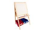 Multi-Use Children's Easel w/ Storage Bins - light wood
