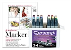 Concept Marker Color BONUS Set of 24 Basic Colors with Strathmore 500 Series Marker Pad 11x14
