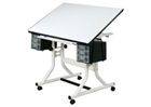 ALVIN Drafting Table - White Base / White Top