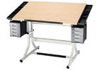 ALVIN Drafting Table - White Base / Maple Top