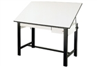 ALVIN Drafting Table - Black Base (2 Drawers)