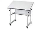 ALVIN Drafting Table - Gray Base / White Top