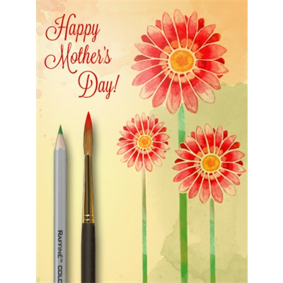Mother's Day Art eGift Card - Red Watercolor Flowers - electronic gift card