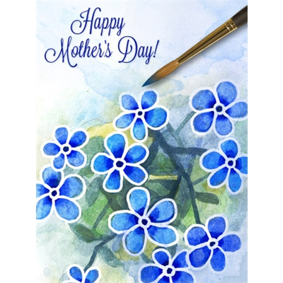 Mother's Day Art eGift Card - Blue Watercolor Flowers - electronic gift card