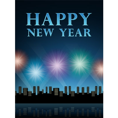 New Year's Art eGift Card - Night Cityscape - electronic gift card