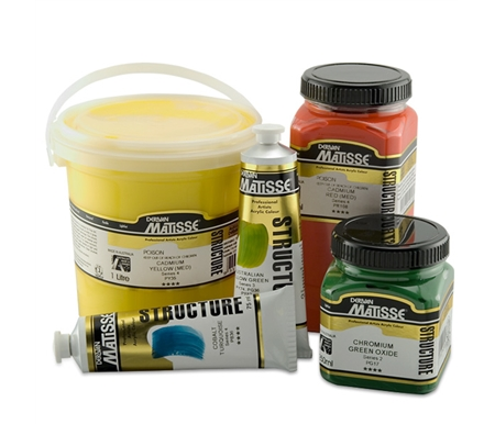 Most Structure Acrylic colors are available in 75 ml, 250 ml, 500 ml, and 1 litre!
