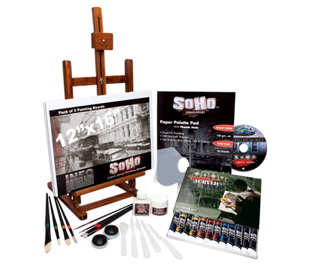 Everything you need for painting in acrylics in one convenient kit: from brushes and colors to mediums and even an easel!