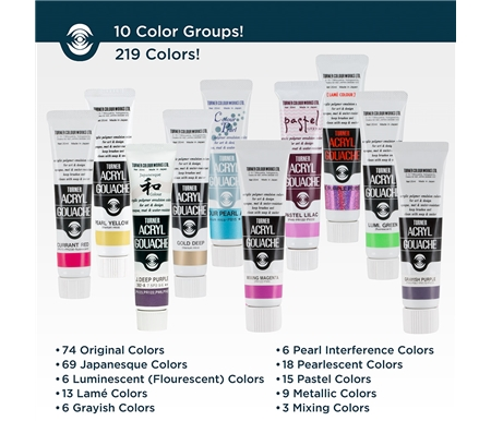 Turner Acryl Gouache comes in 9 full color lines!