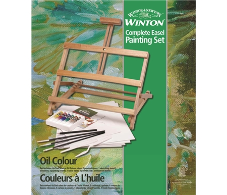 This table easel painting set includes a complete assortment of essential colour and tools.