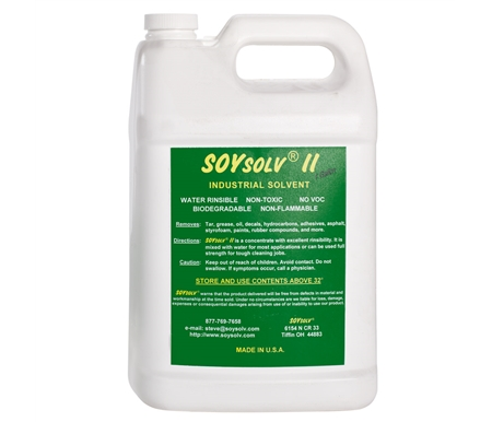 Formulated completely from soybeans and other agriculturally derived ingredients, SoySolv II is biodegradable, water-rinsable, non-toxic, non-abrasive, and has no caustic or hazardous fumes.
