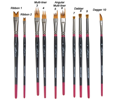 Each brush is available individually or in a Set of 10.