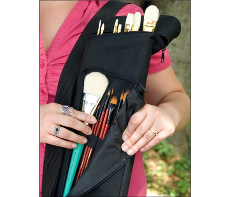 Unique quiver case keeps all your brushes in easy reach.