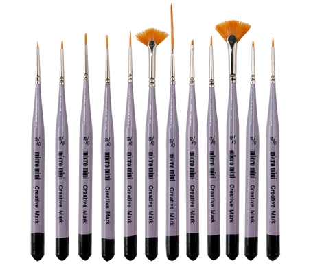 Micro Mini Detail Brushes. This special collection of Golden Taklon hair brushes is great for tight spaces and miniature painting with all types of media